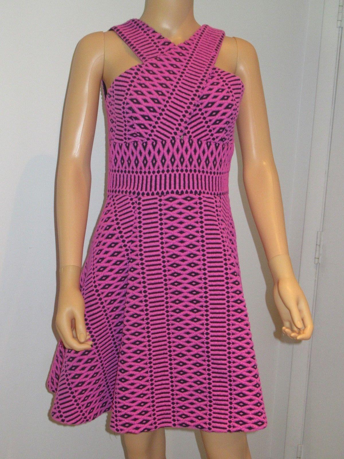 Hunter Bell Womens Laura Jacquard Criss Cross Dress Magenta Pink 4