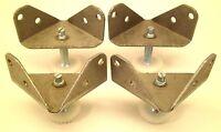 4 Steel Corner Brackets W/ Adjustable Feet Legs Furniture Leveling Glides