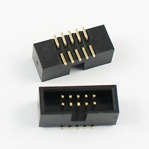 50Pcs-1-27mm-Pitch-2x5-Pin-10-Pin-SMT-SMD-Male-Shrouded-Box-Header-IDC-Connector
