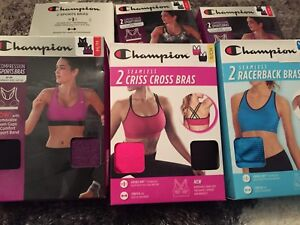 c6e089dfb5403 Champion 2 pack Compression Sport Bras Removable Foam Cups Seamless ...