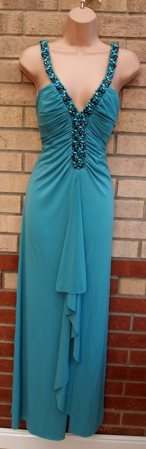JS BOUTIQUE JADE GREEN RUCHED BEADED FRILL SPLIT PARTY WEDDING LONG MAXI DRESS 8