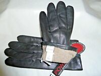 John W Nordstrom Tech Gloves Black Leather Wool/cashmere Lined S=7.5-8