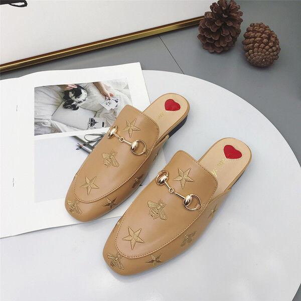 Chaussons élégant sabot beige or basses élégant confortable comme cuir 9837
