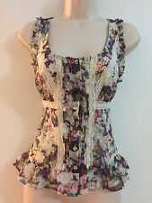 Guess Lace Organza Flowers Spring Romantic Corset Blouse Top Size Medium