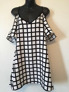 Re-Named-Dress-Dress-Black-White-Striped-Box-Womens-Size-Large