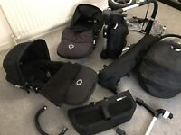 Bugaboo Donkey Twin Black Pushchairs Double Seat Stroller + Carrycot