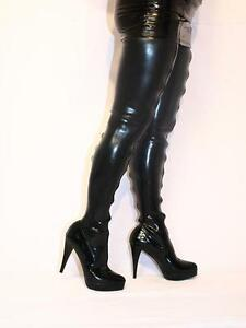 black latex rubber high boots size 516 heels55