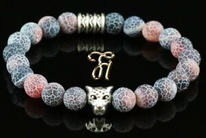 Achat-rot-bunt-silberfarbener-Leopardenkopf-Armband-Perlenarmband-8mm