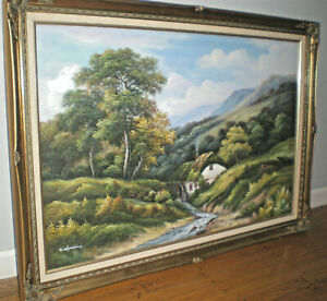 42-x-30-FRAMED-OIL-PAINTING-HOME-ON-ROLLING-MOUNTAINS-STREAM-BEAUTIFUL