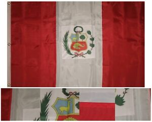 3x5-Embroidered-Sewn-Peru-Perubian-Country-300D-Nylon-Flag-3-Clips