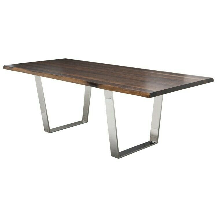 Lyon 96 Inch Dining Table In Seared Oak And Polished Stainless Base For Sale Online Ebay