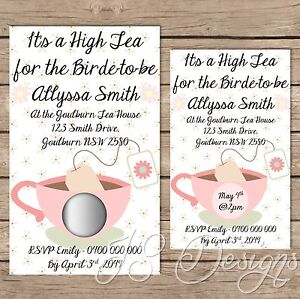scratch off high tea bridal shower kitchen tea invitations x 10