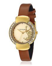 Texus TXWW016 Golden peacock dial Brown leather strap women watch