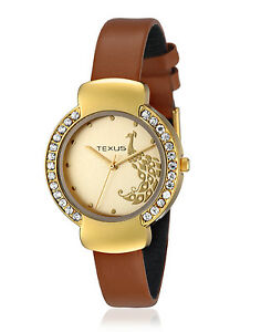 Texus TXWW016 Golden peacock dial Brown leather strap women watch