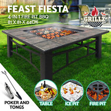 Grillz Fire Pit BBQ Grill Smoker Table Outdoor Garden Ice Pits Wood Firepit