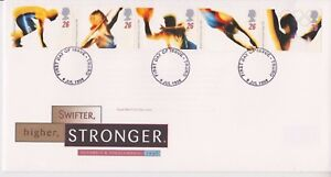 UNADDRESSED-GB-ROYAL-MAIL-FDC-COVER-1996-OLYMPICS-STAMP-SET-TRURO-PMK