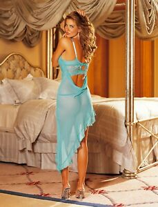 Shirley-of-Hollywood-Women-10-12-Sheer-Turquoise-Nightdress-Designer-Nightwear