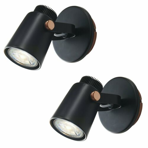 Set of 2 Black with Copper GU10 Spotlight Downlights Adjustable Ceiling Wall