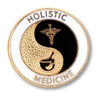 Holistic Medicine Caduceus Gold Plate Medical Insignia Emblem Pin