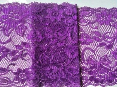 """laverslace Bright Cerise Pink Wide Floral StretchTulle Lace Trim 5.5/""""//13.75cm"""