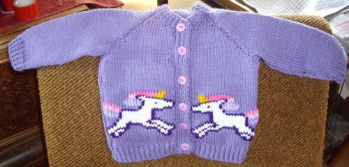 UNICORNS  CARDIGAN  .. SIZE 1. NEW HANDKNITTED 100/% ACRYLIC