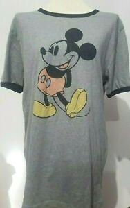 Disney-Mickey-Mouse-para-mujer-Ringer-Tee-T-shirt-XL-Jaspeado-Gris-Manga-Corta