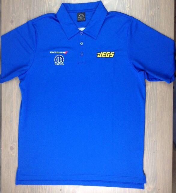 Jegs Oakley Polo Shirt Large Mens Dodge Mopar NHRA Racing 100% Polyester SS Blue