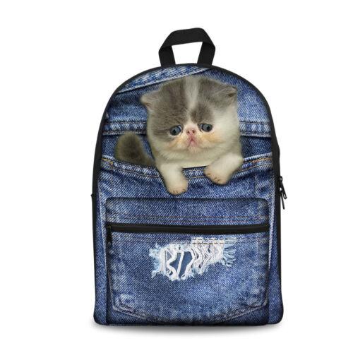 Men Woman Canvas Backpack Schoolbag Bookbag Animal Denim Cat Satchel Rucksack