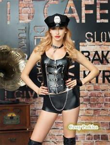 Cop-Police-Womam-Wet-Look-Uniform-Lingerie-Costume-Outfit-Hat-Glove-Choker