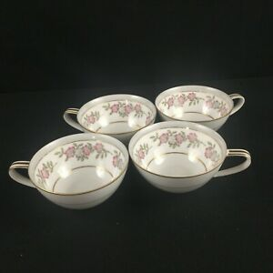 Set-of-4-VTG-Cups-by-Noritake-5433-Dark-Pink-and-Gray-Floral-Gold-Trim-Japan