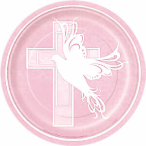Image is loading RELIGIOUS-Dove-Cross-Pink-SMALL-PAPER-PLATES-8-  sc 1 st  eBay & RELIGIOUS Dove Cross Pink SMALL PAPER PLATES (8) ~ Birthday Party ...