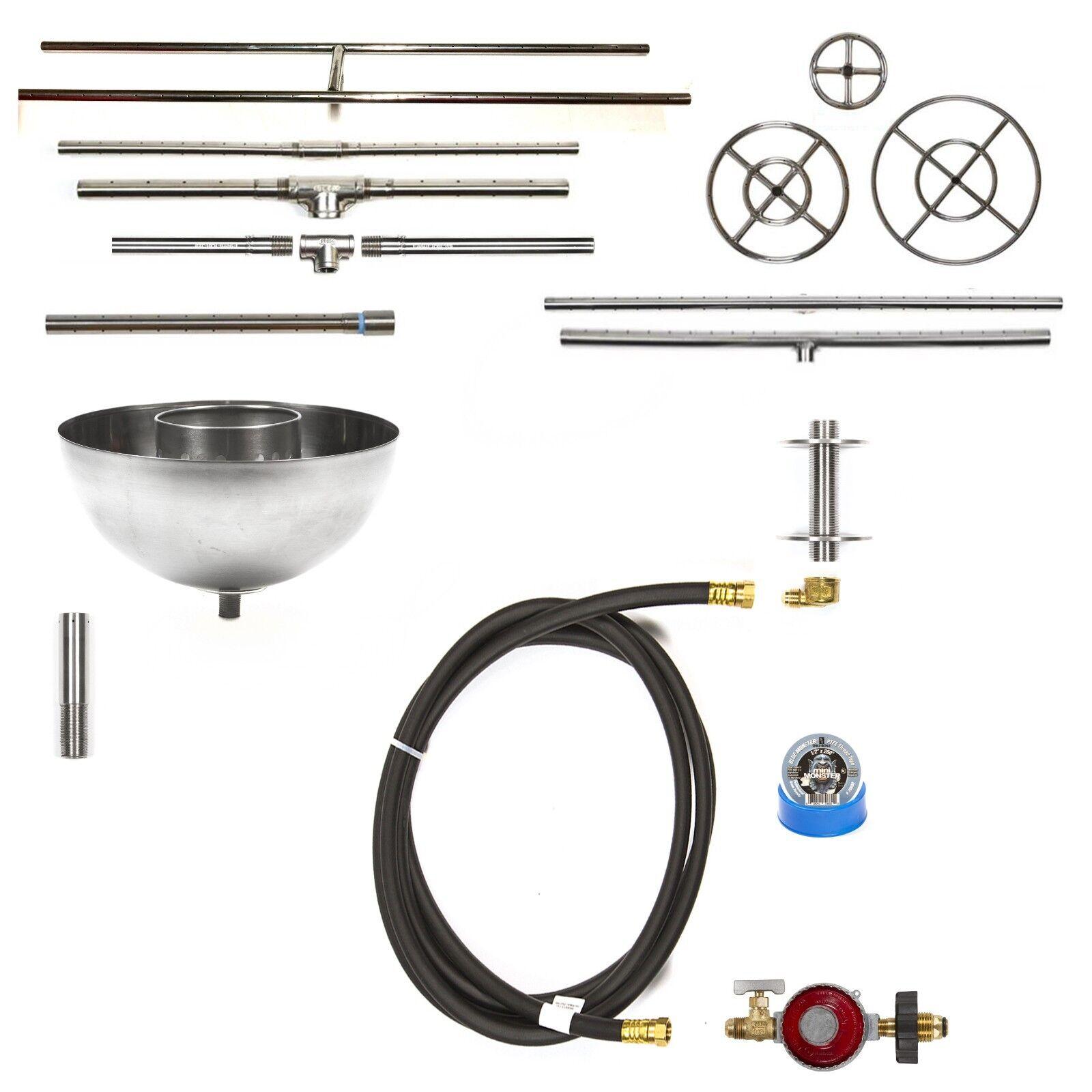 Fácil Hágalo usted mismo completa básica : por gas fuego Pit Kit y vida guerra 316 Quemador de acero