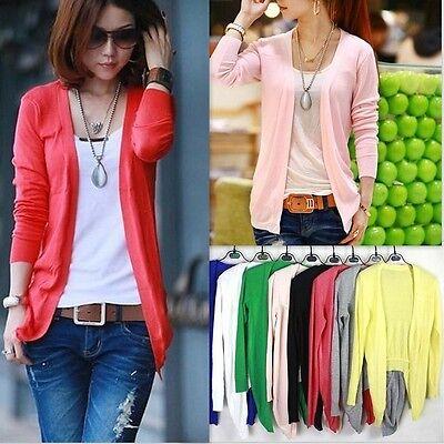 New Women Long Sleeve Cardigan Coat Casual Irregular Hem Knit Shirt Top 10 Color