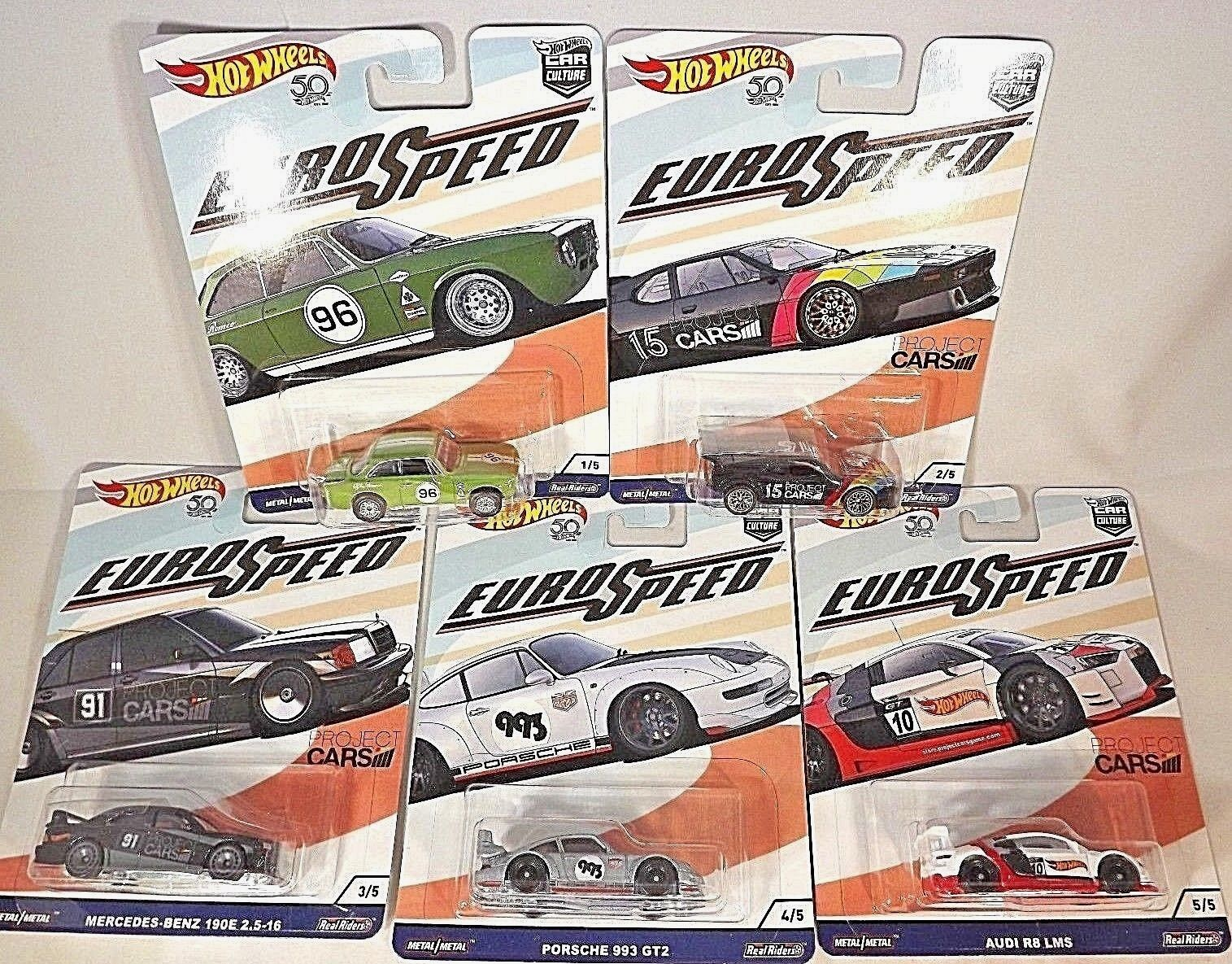2018 Hot Wheels Car Culture EURO SPEED Complete Set Of 5 w RR Wheels See Details