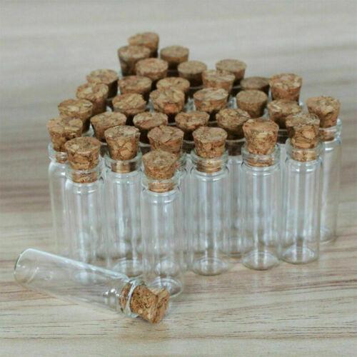 50-200Pcs 2ML claro pequeño de botellas de vidrio con Tarros Contenedores Corchos Botellas viales