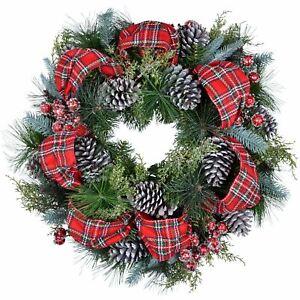 24 Luxury Artificial Decorated Red Tartan Christmas Wreath 5055354252792 Ebay