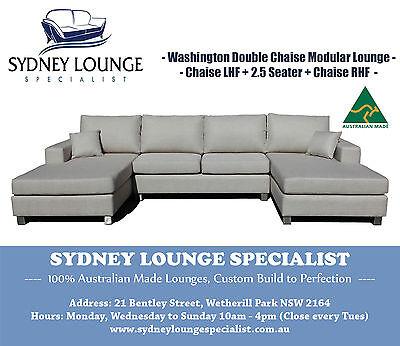 Brand New - AUS MADE Washington U-shape 3 pcs Chaise Modular Lounge Couch Sofa