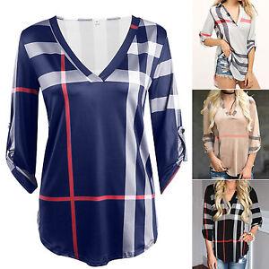 Women-Plaid-Blouse-Irregular-3-4-Sleeve-T-Shirt-Blouse-Check-Tunic-Tops-Pullover