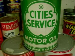 NEAR MINT 1940's era CITIES SERVICE MOTOR OIL Old Solder Seam Tin 1 qt. Can