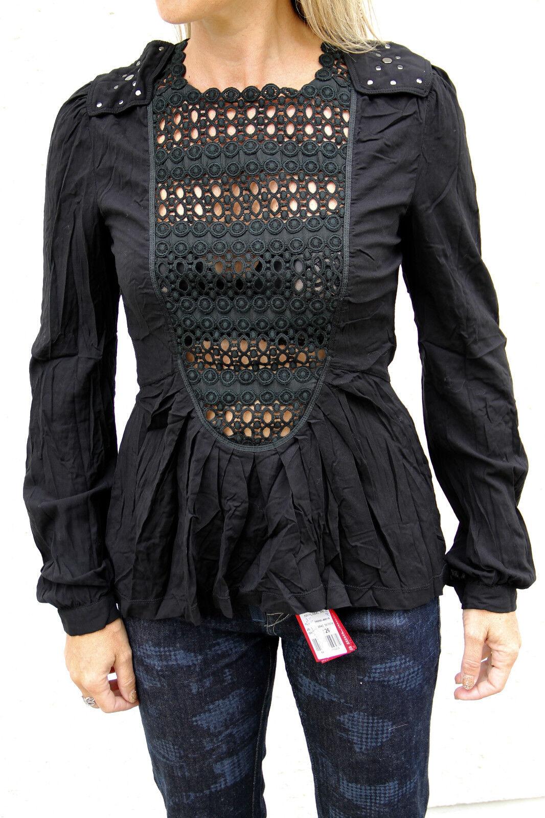 Magnifique tunique blouse viscose nero HIGH USE  Dimensione 38 NEUF ÉTIQUETTE