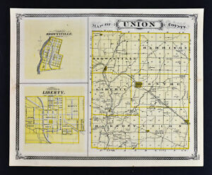 1876 Indiana Map Union Franklin County Liberty Brookville