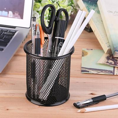 Black Mesh Pen Pot Stationery Holder Desk Tidy Organiser Pencil Cup Case Basket