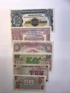 MILITARY ARMED FORCES BANKNOTE / VOUCHER SET FULL SET 5 X NOTES INC RARE £5
