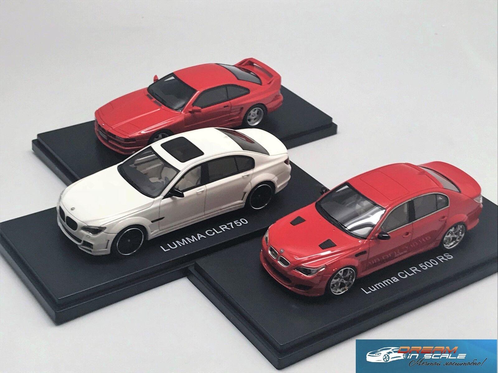 Reihe von drei modelle bmw lumma clr500 rs & clr750 & koenig ks-8 renn - miniaturen 1 43