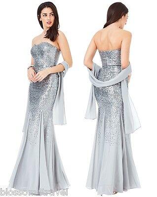 DemüTigen Goddiva Silver Strapless Sequin Chiffon Inserts Long Maxi Dress-wrap Bridesmaid Fortgeschrittene Technologie üBernehmen