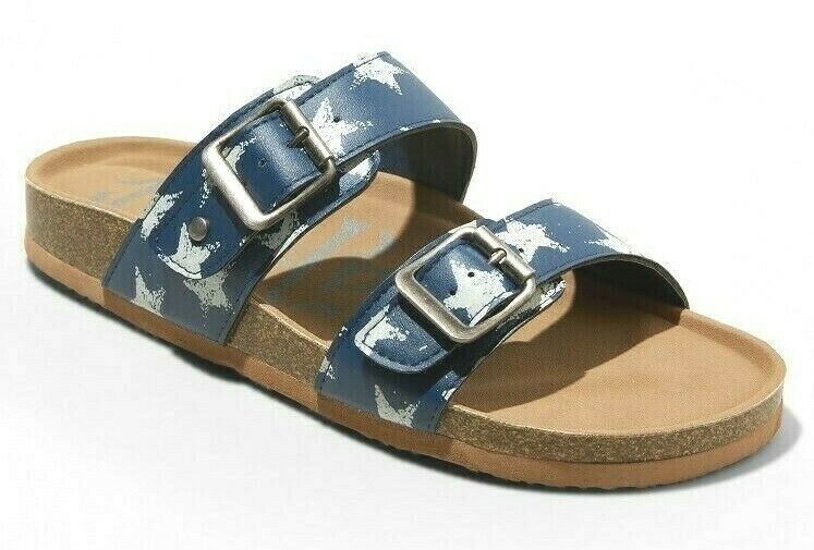 Brand New Women/'s Mad Love Navy Stars Keava Footbed Summer Sandals