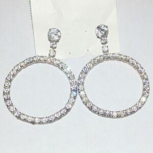 Vintage-big-prong-set-rhinestone-drop-dangle-circle-hoop-pierced-earrings-2-5-034