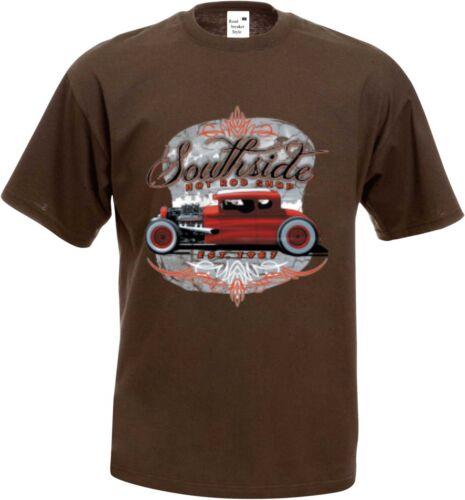 Hot Rod- T shirt en Schokoton v8- US Car-,/' 50 Style Motif Modèle Southside