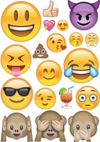 Emoji Wall Stickers Pack Art Emoticon Funny Faces Smiley Bedroom Decals 4 sizes