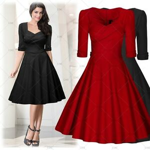 Women's Vintage Deep-V 3/4 Sleeves Casual Prom Bodycon Flared Swing Dresses